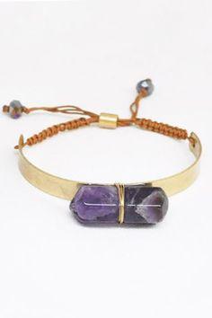 Gold Tone and Purple Chevron Stone Bracelet