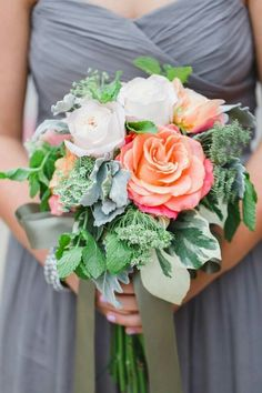 Beautiful Bridesmaid's Bouquet Showcasing Bi-Color Pink/Coral Roses, White Roses, Green Queen Anne's Lace, Fresh Mint, Variegated Ivy, & Dusty Miller Hand Tied With A Beautiful Satin Pewter Ribbon~~~