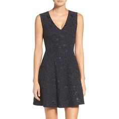 Women's Bcbgmaxazria Kylia Jacquard Fit & Flare Dress (395 AUD) ❤ liked on Polyvore featuring dresses, dark navy combo, fit flare dress, jacquard dress, bcbgmaxazria dress, shimmer dresses and textured dress
