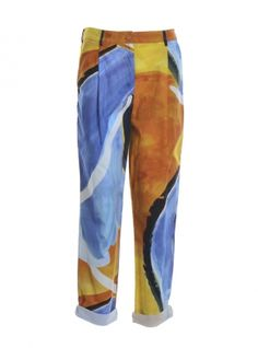 Young+British+Designers:+Sunset+Peg+Leg+Trousers+by+COR+Clothes+-+From+the+aptly+titled+'Artist's+Summer'+collection+comes+these+easy+to+wear+and+love+soft+cotton+pants+in+a+glorious+colour+imbued+sunset+print.+Perfect+holiday+everyday+wear.