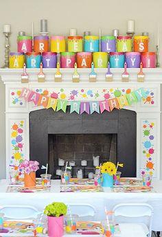 x printable pdf instan birthday parties, art birthday, rainbow Artist Birthday Party, Birthday Party Themes, Birthday Ideas, Painting For Kids, Art For Kids, Painting Party Kids, Art Themed Party, Bd Art, Fun Craft