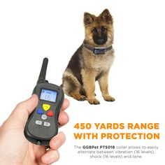 Remote control range of 450 YARDS (400m/1312ft) to easily train small, medium and large dogs from a Chihuahua to a Golden retriever.