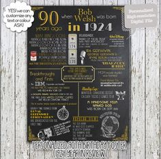 A fun 90th birthday customized digital printable poster for 1924 babies which include events, tidbits & facts from 1924! Perfect to print out and: