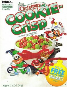 Because nothing was more delicious than green and red cereal (aka colored SUGAR). Why Christmas, Christmas Goodies, Merry Christmas, Retro Recipes, Vintage Recipes, Cookie Crisp Cereal, Discontinued Food, Cereal Packaging