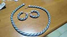 """Tecnica:bead crochet_collana Spirale_versione """" Milano """" + orecchini cerchio grandi"""