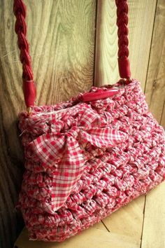Red Gingham Purse Crocheted with Fabric Strips