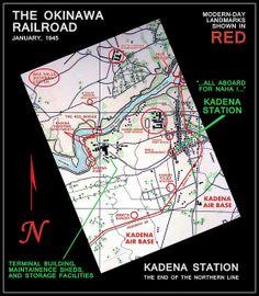 KADENA STATION and TERMINUS -- THE OKINAWA RAILROAD in 1945