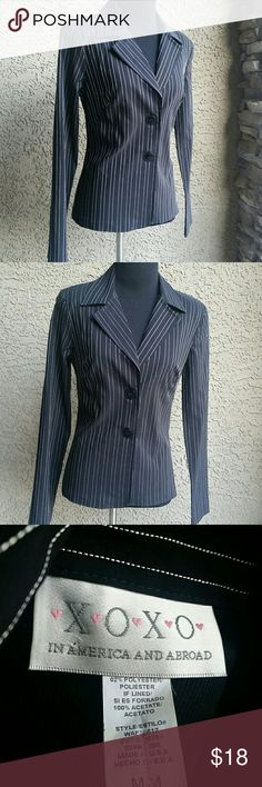 Womens Juniors XOXO Blazer Sz Medium Womens XOXO Blazer Top. Sz Medium  Black pin striped, padded shoulders, light and stretchy material. Excellent condition. XOXO Jackets & Coats Blazers