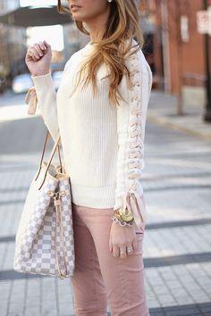 Rosey: Cream Braided Sweater, Rose Colored Denim, Rockstud Valentinos, Louis Vuitton Neverfull on www.forallthingslovely.com