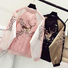 Deer Sakura Cherry Blossom Bomber Jacket