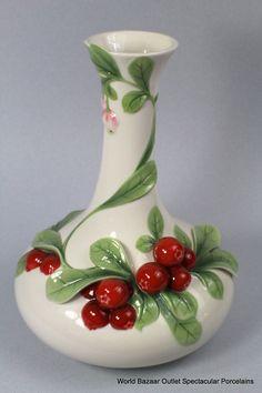 Image detail for Franz Porcelain Cowberry Mid Size Vase New Summer Introduction . Pottery Painting, Pottery Vase, Ceramic Pottery, Ceramic Art, Bottle Art, Bottle Crafts, Vase Design, Keramik Vase, Wooden Vase