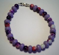 Pink and Purple Beaded Anklet by MandyPandyGiftShop on Etsy