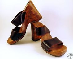 Vtg-Candies-Wedge-Sandals-Sz-10-Clogs-Leather-Mules-Womens-Brown-Platform-Studs