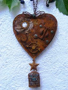 rusty steampunk by Gaby Bieberle I Love Heart, Key To My Heart, Heart Art, Assemblage Art, Love Symbols, Be My Valentine, Altered Art, Metal Art, Jewelry Art