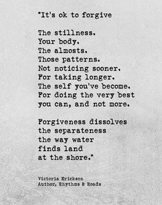 Forgiveness. [Victoria Erickson]