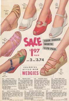 1955 Sandals- Diverse styles on Wedge Soles mid 50s red white tan pink sling back buckle crayola colors wedgies shoes casual low heel slip ons