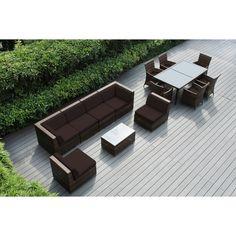 Ohana Outdoor Patio 14 Piece Mixed Wicker Sofa and Dining Set with Cushions