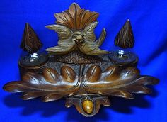 Vinage SWISS Wood Carved Forest Inkwell with Birds  Brienz #^