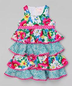 Pink & Green Floral Ruffle Dress - Toddler & Girls