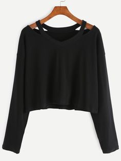 Shop Black Cut Out Neck T-shirt online. SheIn offers Black Cut Out Neck T-shirt & more to fit your fashionable needs.