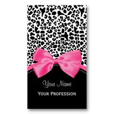 Chic Fashion Leopard Print With Hot Pink Ribbon Vertical Business Cards http://www.zazzle.com/chic_fashion_leopard_print_with_hot_pink_ribbon-240275237305431525?rf=238835258815790439 #leopardprint #fashionbusinesscards #pinkandblack