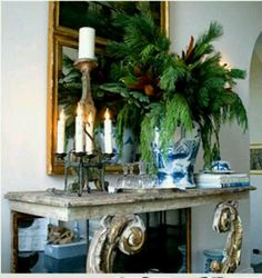 Charming Chinoiserie Christmas - front foyer table with mirror and pretty blue and white vase filled with seasonal foliage greens Beautiful Christmas, White Christmas, Christmas Home, Christmas Holidays, Elegant Christmas, Christmas Ideas, Christmas Crafts, Merry Christmas, Christmas Greenery