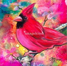 "What, a pink cardinal? Why not. GG's pink cardinal is a perfect 'wow' to add to a dull room. Bring in some color with GG's latest bird design. ""Pink Cardinal for my Love"", design by Kentucky Artist, GG Burns"