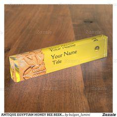 ANTIQUE EGYPTIAN HONEY BEE BEEKEEPER Yellow Desk Name Plates