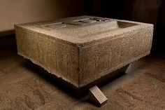 Altar from the Mortuary Temple of Amenemhat I. Middle Kingdom Dynasty 12. Reign of Amenemhat I c.a. 1981–1952 B.C.This imposing altar was found at the west end of a passage just outside the northern wall of the pyramid temple of Pharoah Amenemhat I at Lisht North.It must have been placed there by the quarrymen who - most probably in Ramesside times - dismantled the temple.Originally, the altar presumably stood in the open court of the temple.