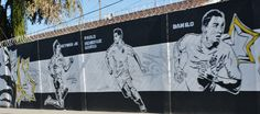 Football Art Wall Graffiti! Famous football players Danilo, Paulo Henrique Ganso,and Neymar Jr.  pictures on the wall!
