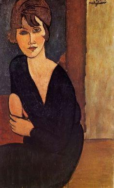 Portrait of Madame Reynouard, Amedeo Modigliani. Oil on canvas, private collection. Italian artist Amedeo Modigliani was born today in Amedeo Modigliani, Modigliani Portraits, Modigliani Paintings, Italian Painters, Art Moderne, Art For Art Sake, Renoir, Famous Artists, Figurative Art