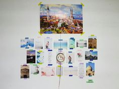 This is how I display some of the pictures I've taken/my favourite pictures on the Internet. I tape them up on the wall using washi tape for a pop of colour. I add a personalised dreamcatcher in the middle to make it unique, and a poster of one of my favorite countries at the top.  #roomdecor #pictures #dreamcatcher #washitape #hangpictures #diy