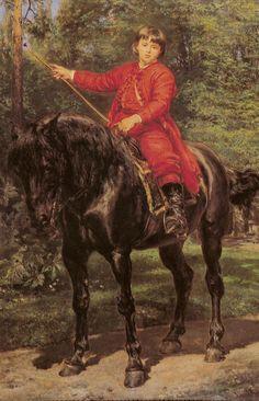 Portrait of the Artist's Son on Horseback - Jan Matejko