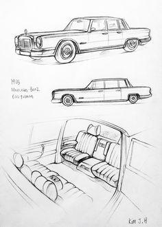 Car drawing 151113  1965 Mercedes-Benz Pullman Prisma on paper.  Kim.J.H