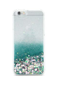 A clear hardshell case for the iPhone 6&reg and iPhone 6S&reg featuring a liquid heart and star confetti and glitter décor inside.