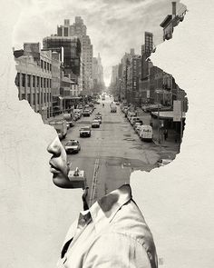 Andrea Costantini's photo manipulation series, Where is My Mind, illustrates daydreams by blending head shots with images of architecture and cityscapes.