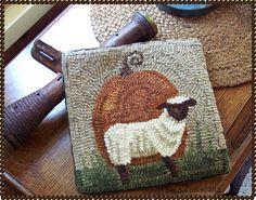 FaLL Prim Pumpkin & SheeP- OriginaL Hand Hooked PrimiTive WooL Rug MaT   eBay