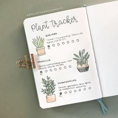 bullet journal with plant tracker page Bullet Journal Tracker, Bullet Journal Notes, Bullet Journal Aesthetic, Bullet Journal Writing, Bullet Journal Ideas Pages, Bullet Journal Inspiration, Journal Pages, Bullet Journal Ideas Templates, Bullet Journal Lettering Ideas