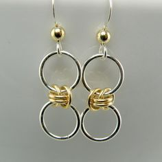 "..""Tiny Sterling Silver and 14K Gold Fill Bubble Earrings"" by WovenChains"