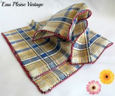 Vintage Blue Red Yellow Plaid Cotton by EauPleineVintage on Etsy