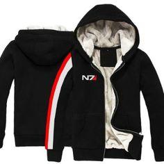 N7 Hoodie Jacket Sweater Clothing for Mass Effect Costume Zipped Hoodies Men