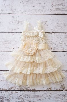 flower girl dress lace champagne flower girl by PoshPeanutKids, $50.00