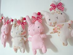 Bitsy Bunny Fabric GarlandVintage Pastels by RubyRedcrafts on Etsy, $18.00
