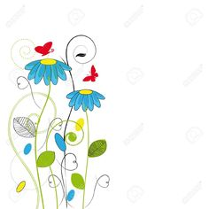 postales dibujos flores - Google Search