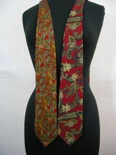 Fall Pine Cones Paisley Lands End Silk Neckties Ties Lot Brown Red  Multicolor #LandsEnd #Tie
