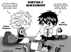 Fairy tail/Ao no Exorcist by by Ao No Exorcist, Blue Exorcist Funny, Blue Exorcist Cosplay, Blue Exorcist Anime, Natsu Fairy Tail, Fairy Tail Funny, Fairy Tail Anime, Rin Okumura, Nalu
