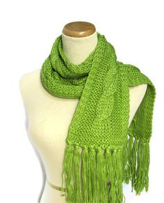 Green Apple Cable Hand Knit Scarf. $65.00, via Etsy.
