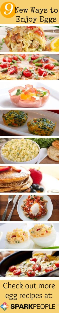 9 New Ways to Enjoy Eggs. Bored with the same old scrambled eggs? Try these 9 new ways to mix up your morning breakfast. | via @SparkPeople