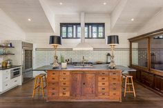 """Unique Apothecary style Kitchen in Renovated 1972 Saltbox - Fredericksburg, TX [[MORE]] SOURCE: Laughlin Homes & Restoration PHOTOGRAPHY: Blake Mistich """" """"The owner wanted to convert an existing carport into a functional working kitchen as part of..."""
