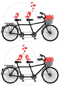 Tandem bicycle with cute love birds, wedding invitation, engagement, bike, red hearts, digital clip-art, clipart, clip art, printable card. $5.00, via Etsy.
